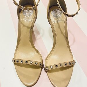 Vince Camuto Nude Studded Heels size 9